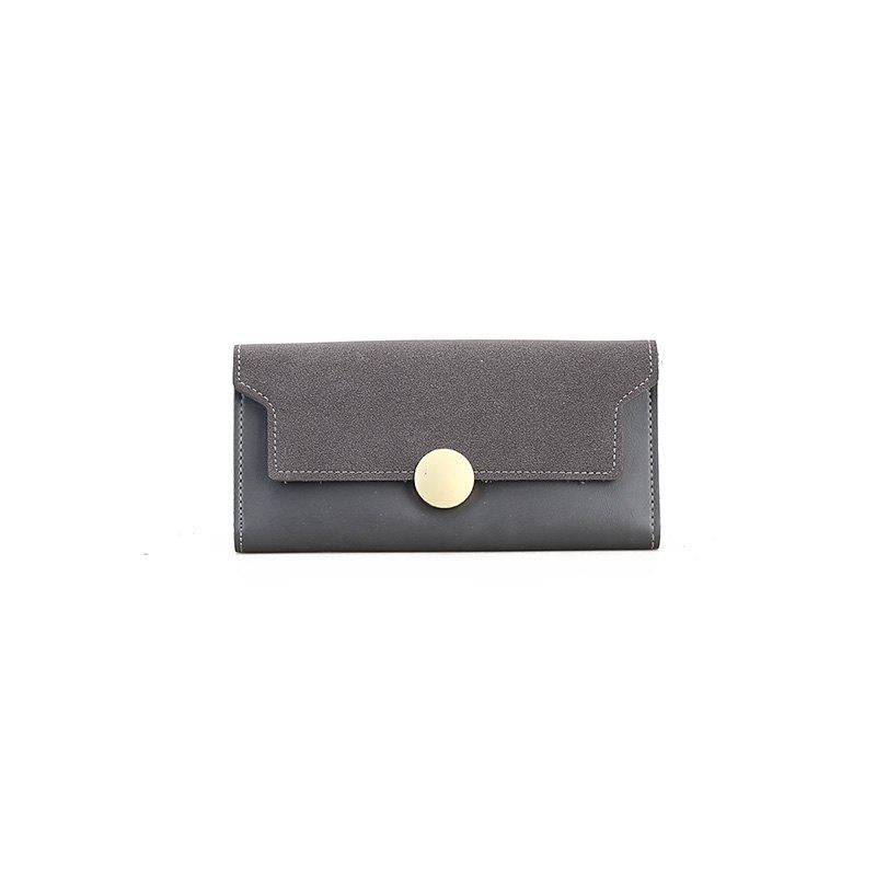 The New Female Long Simple Hand Splicing Three Fold Buckle Wallet - GRAY