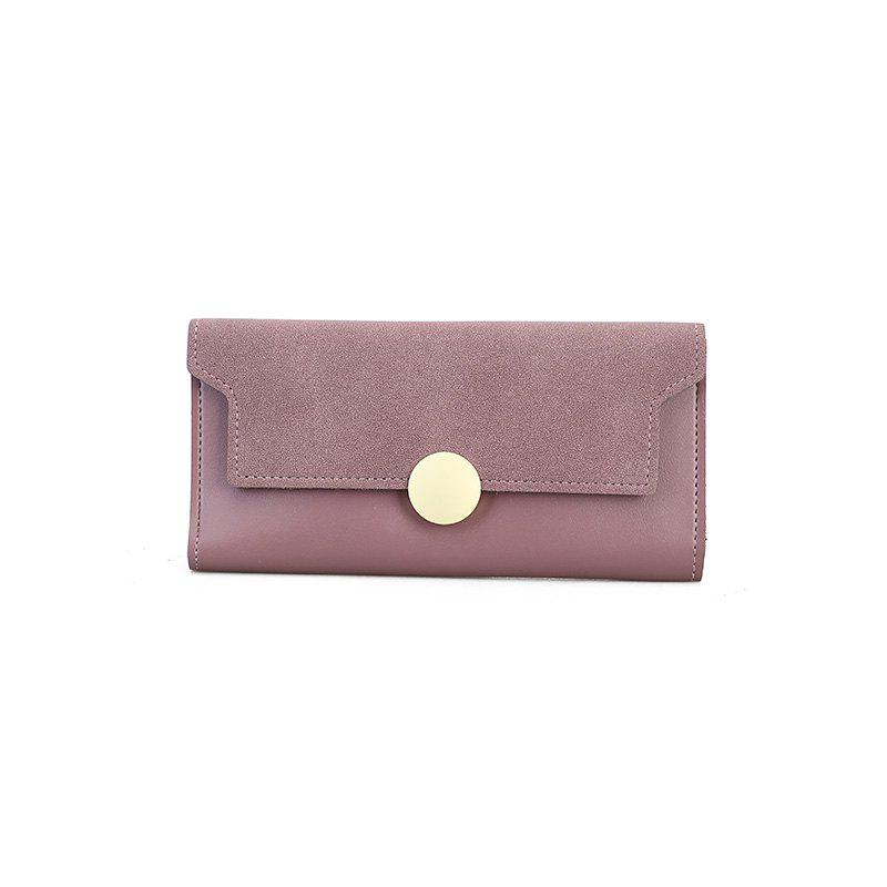 The New Female Long Simple Hand Splicing Three Fold Buckle Wallet - PINK