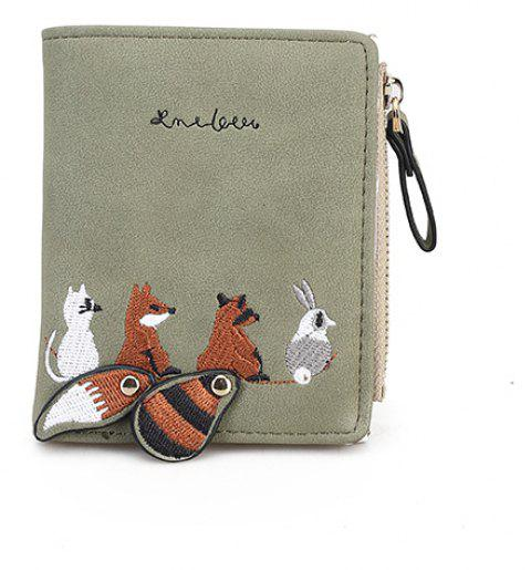 Women's New Embroidery Short Change Clutch - GRAY