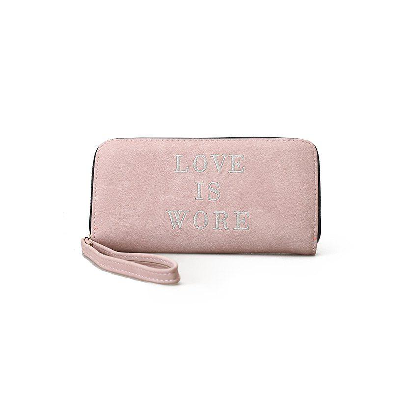 Small New Female Long Fresh Slim Personality Wallet - PINK