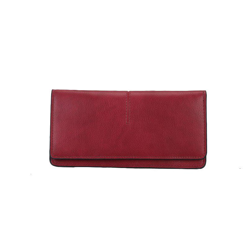 Women's New Long Thin Section Simple Clutch - RED