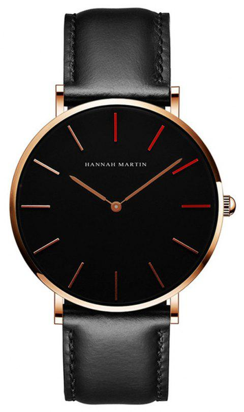 HANNAH MARTH 1230 - HR40 1319 Fashion Waterproof Unisex Quartz Watch - BLACK BAND BLACK DIAL ROSE GOLD CASE