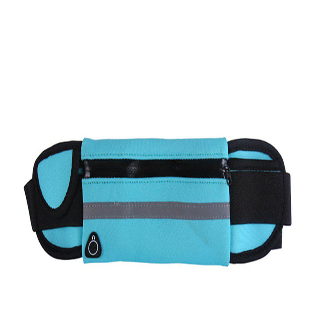 Men Women Waist Running Bag with Earphone Slot Waterproof Breathable - BLUE