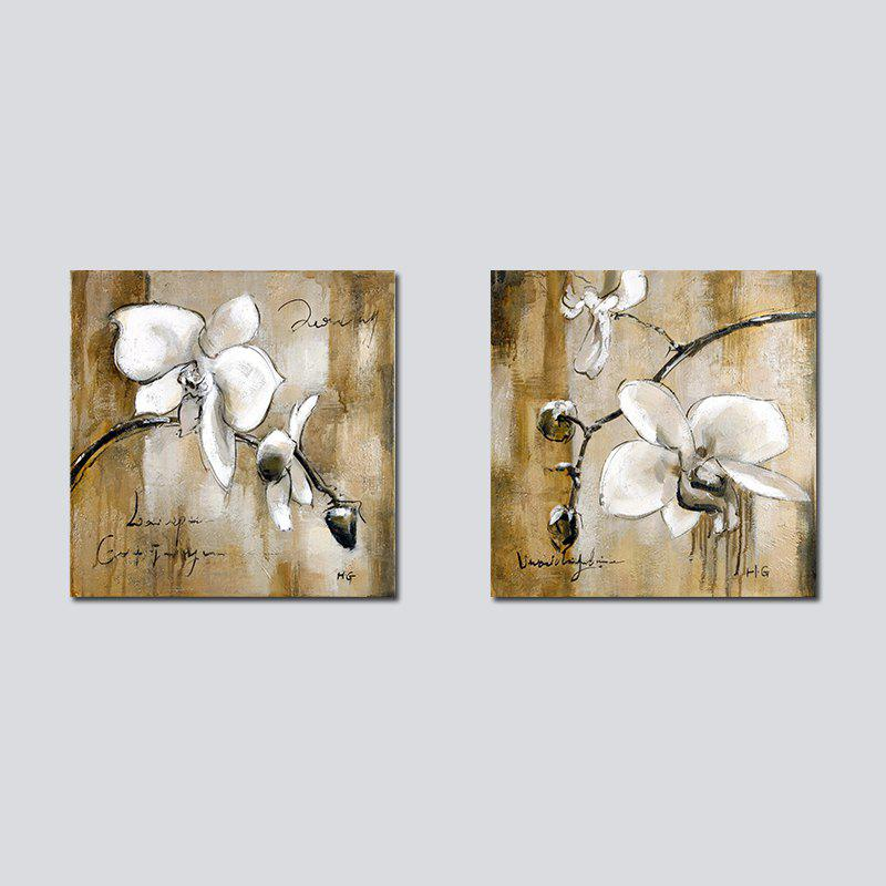 QiaoJiaHuaYuan Frameless Canvas Background two Couplets of Sitting Room Sofa set Abstract Flower  Decoration Hangs a Pict - COLORMIX