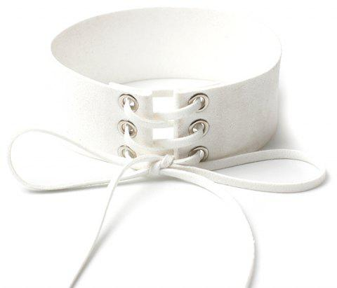 Creative Accessories Wide Velvet Strap Collar Personality Punk Strap Necklace - WHITE