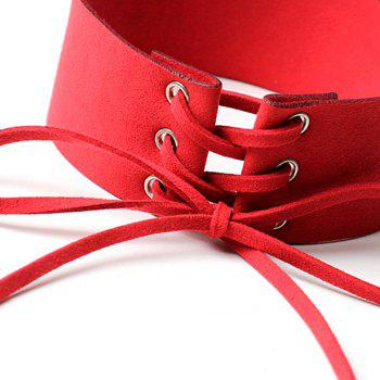 Creative Accessories Wide Velvet Strap Collar Personality Punk Strap Necklace - RED