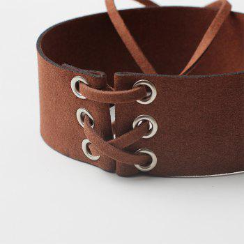 Creative Accessories Wide Velvet Strap Collar Personality Punk Strap Necklace - BROWN
