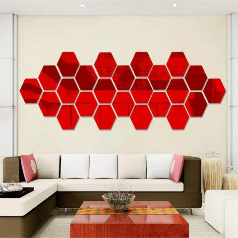 Hexagonal Mirror Wall Sticker Background Walls Decorated Crystal Mirrors Three-Dimensional Honeycomb Style - RED 4.6X4CM