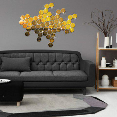 Hexagonal Mirror Wall Sticker Background Walls Decorated Crystal Mirrors Three-Dimensional Honeycomb Style - GOLDEN 4.6X4CM