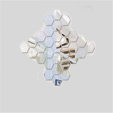 Hexagonal Mirror Wall Sticker Background Walls Decorated Crystal Mirrors Three-Dimensional Honeycomb Style - SILVER 4.6X4CM