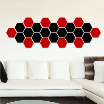Hexagonal Mirror Wall Sticker Background Walls Decorated Crystal Mirrors Three-Dimensional Honeycomb Style - RED 8X7CM