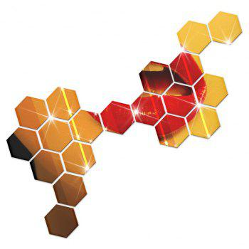 Hexagonal Mirror Wall Sticker Background Walls Decorated Crystal Mirrors Three-Dimensional Honeycomb Style - GOLDEN 8X7CM