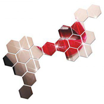 Hexagonal Mirror Wall Sticker Background Walls Decorated Crystal Mirrors Three-Dimensional Honeycomb Style - SILVER 8X7CM
