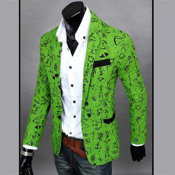 Men's Casual Blazer Cotton Blend Pattern Blazer Casual Coat - GREEN M
