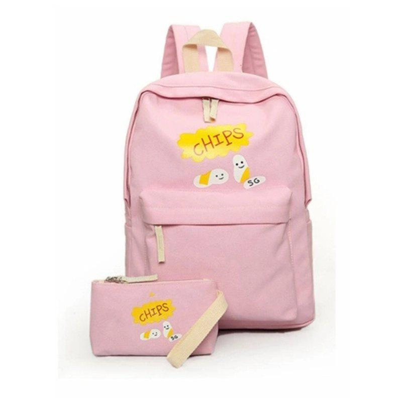 Sac à dos de 2 Pcs Girl Set Cartoon Pattern Denim Sac à dos Crayon Sac Set - ROSE PÂLE