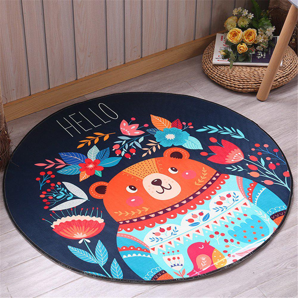 60cm Carpet Round Kids Gym Rug Play Game Mat Baby Crawling Blanket Outdoor Pad Room Decor - BLACK