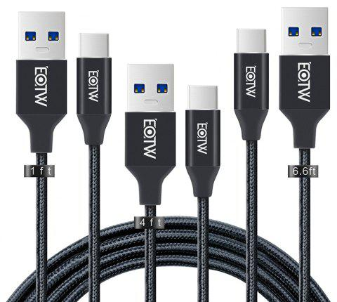 USB 3.0 Type C Cable  USB Nylon Braided Fast Charger Cord for Samsung Galaxy S8 LG Macbook - BLACK