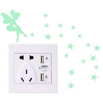 Lumineux DIY Mignon Maison Chat Interrupteur Mural Autocollant Night Light Chambre Fluorescent Autocollant - Herbe Verte