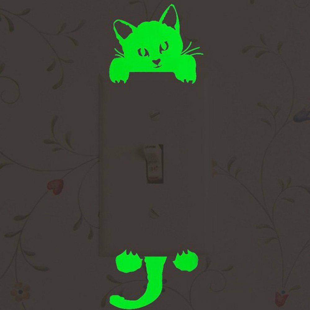 Lumineux DIY Mignon Maison Chat Interrupteur Mural Autocollant Night Light Chambre Fluorescent Autocollant - Vert