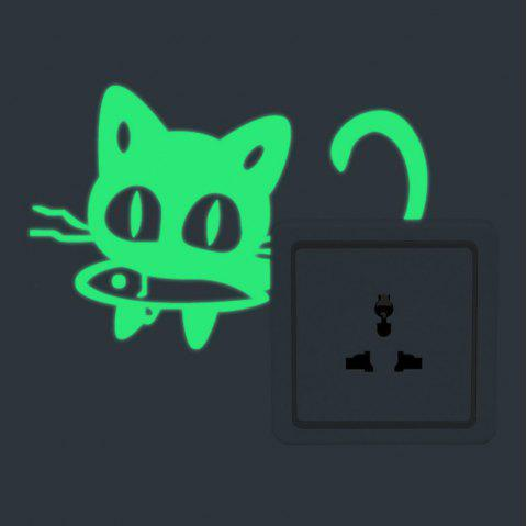 Luminous Cartoon Switch Sticker Glow in the Dark Cat Sticker Fluorescent  Moon Stars Sticker - GREEN