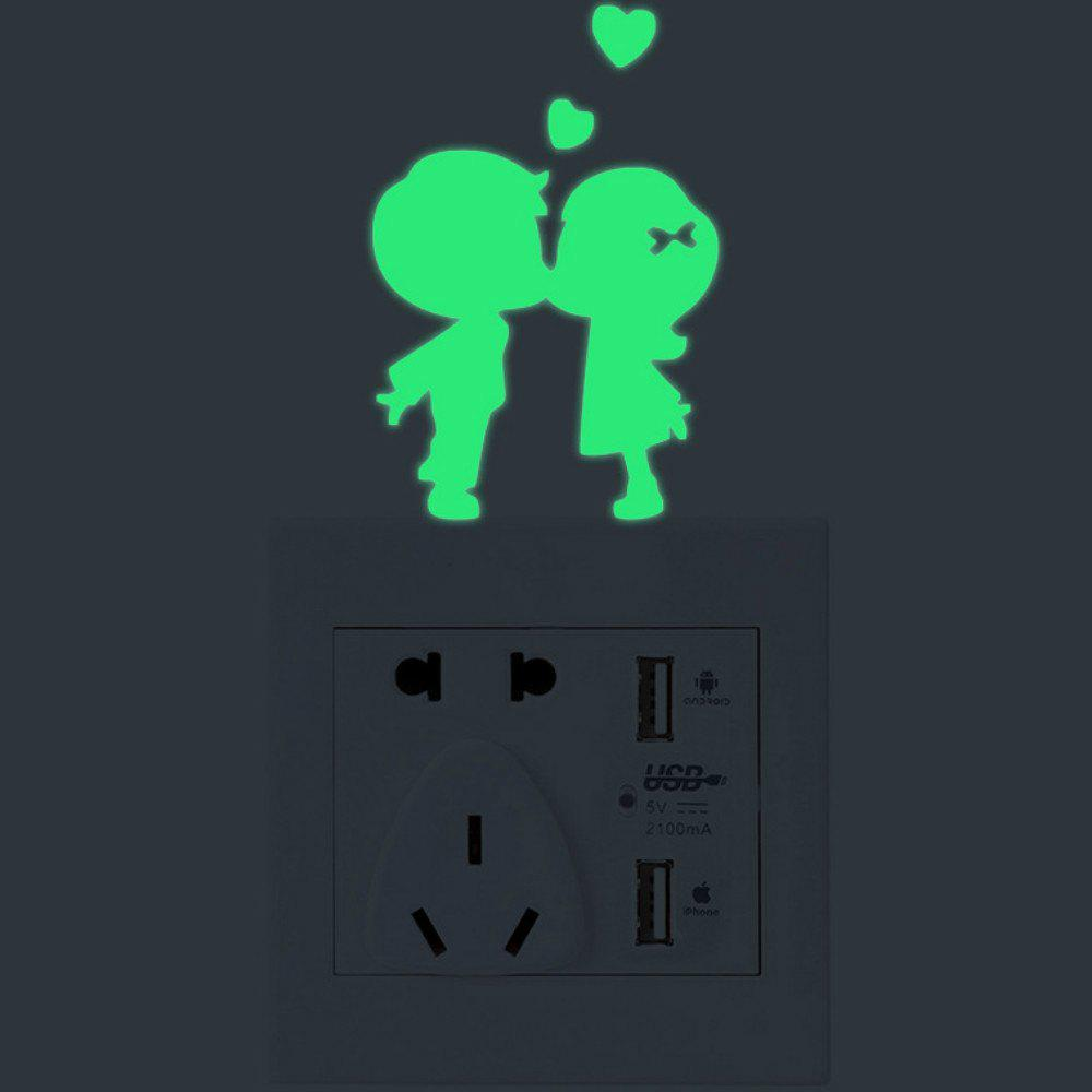 Luminous Cartoon Switch Sticker Glow in the Dark Cat Sticker Fluorescent  Moon Stars Sticker - GRASS GREEN