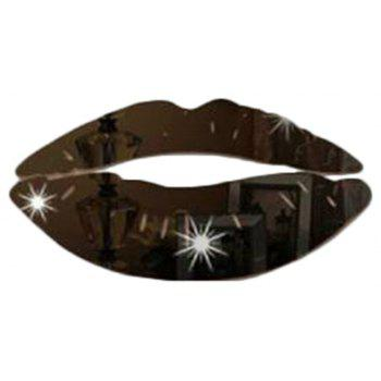 3D Art Mirror Lip  Decal Party Wedding Decor DIY Home Room Decorations - BLACK