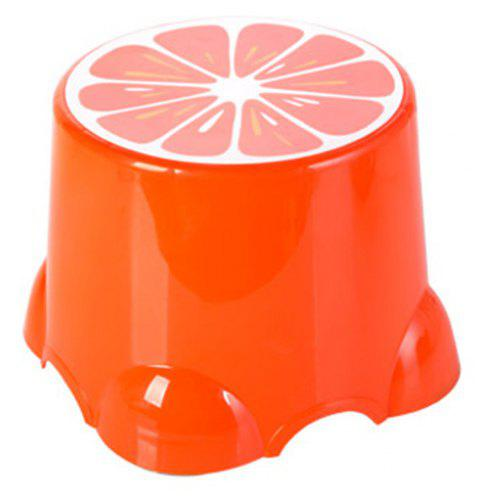 PP Child Cartoon Fruit Thickened Bench Footstool Stool - ORANGE 21.5X21.5X13