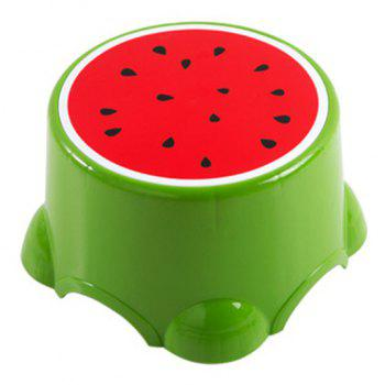 PP Child Cartoon Fruit Thickened Bench Footstool Stool - GREEN 21.5X21.5X13