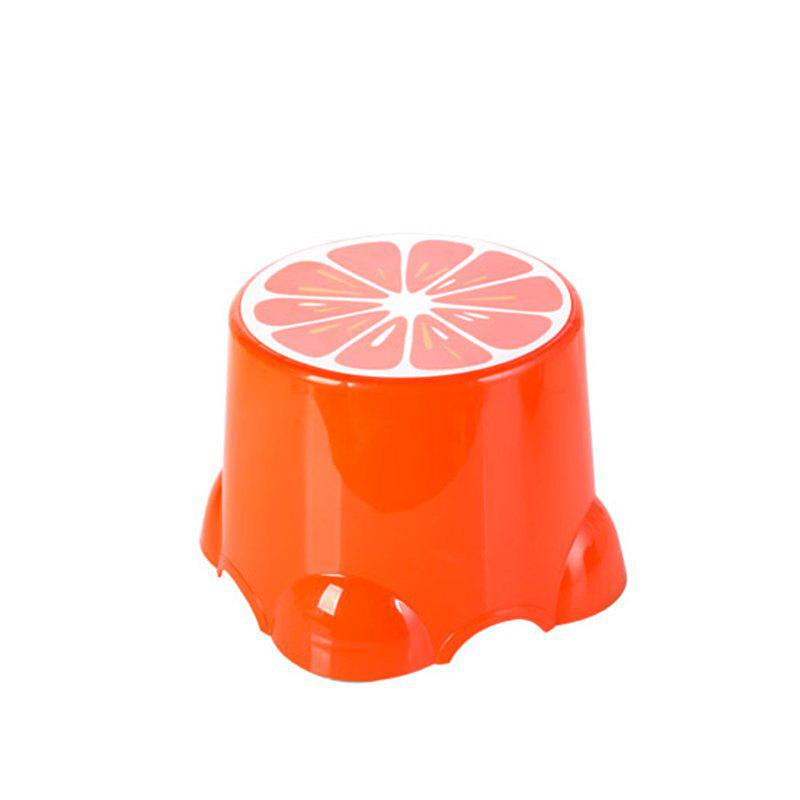 PP Child Cartoon Fruit Thickened Bench Footstool Stool - ORANGE 27X27X21
