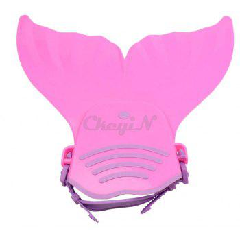 Comfortable Adjustable Kids Swimming Fins Training Flipper Mermaid Tail Monofin with Soft Strap - PURPLE/PINK