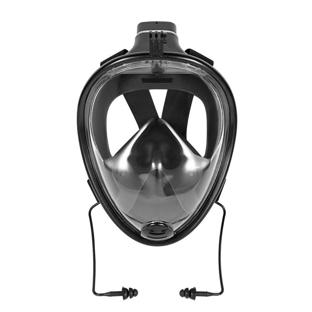 180 Degree Wide View Full Face Snorkel Mask Anti-fog Anti-leak Size S/M - BLACK