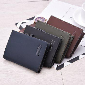 New Men's Short Wallet Vertical Folder Matte Purses - BLACK
