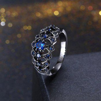 Plus diamant creux Lady Fashion Ring - Bleu 8