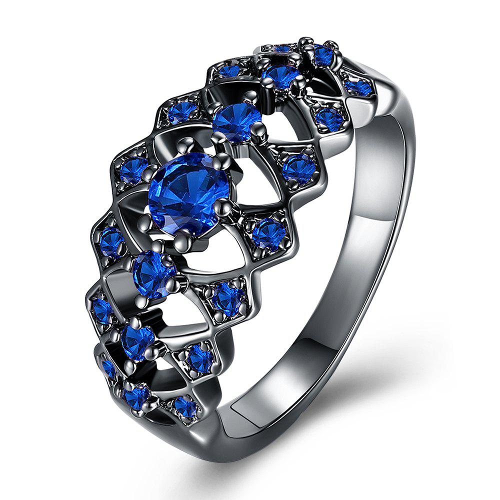 More Hollow Diamond Fashion Lady Ring - BLUE 8