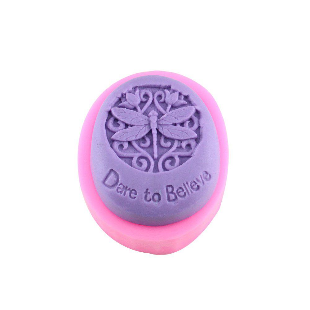 Dragonfly Oval Handmade Soap Cake Mold - PINK
