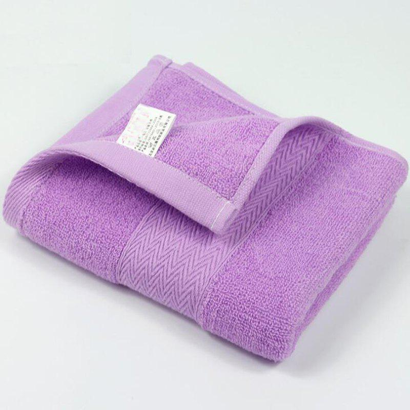 1Pc Serviette de visage Simple Épaisseur solide souple Serviettes de lavage confortables - Pourpre 74CM X 32CM