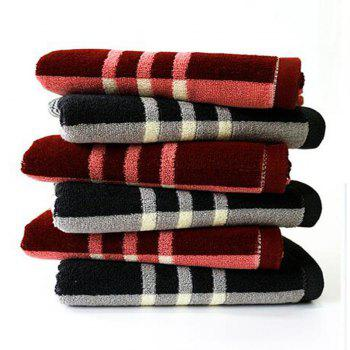 1Pc Face Towel Classic Simple Plaids Pattern Comfy Home Washing Towel - RED 75CM X 35CM