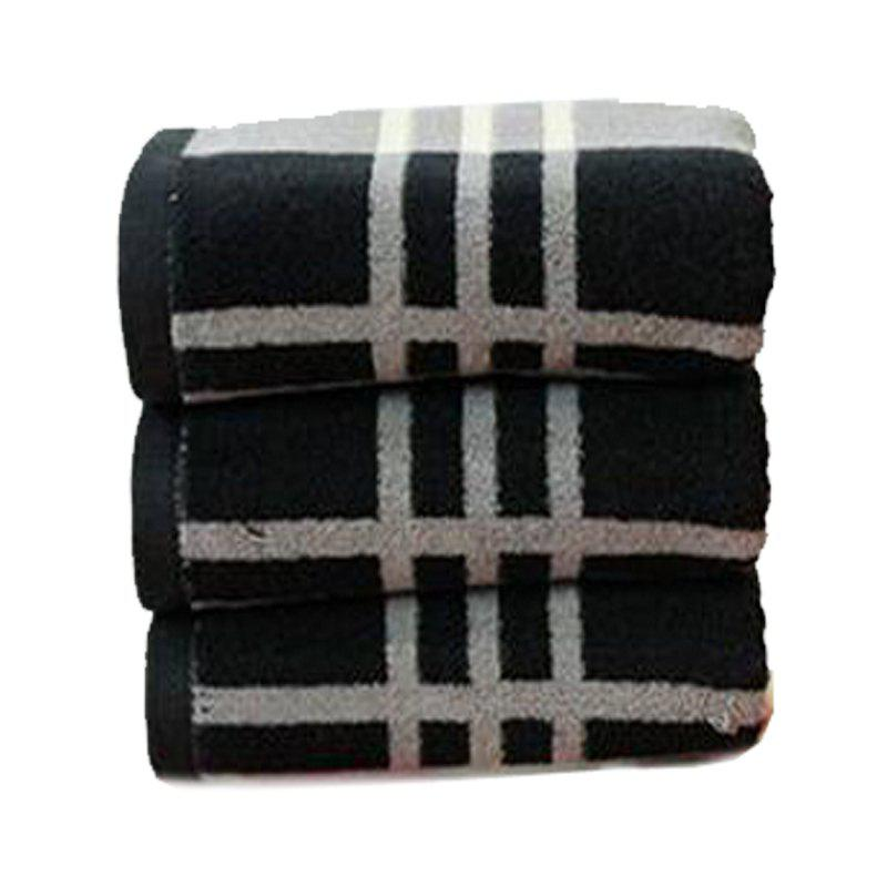 1Pc Face Towel Classic Simple Plaids Pattern Comfy Home Washing Towel - GRAY 75CM X 35CM