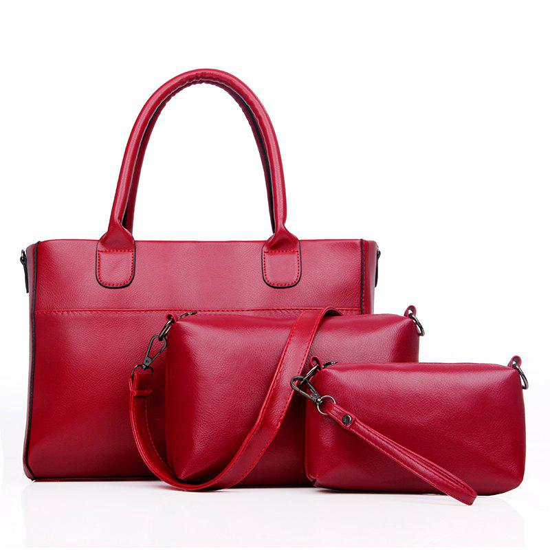 Female New Fashion Messenger Bag Three-piece Suit - RED