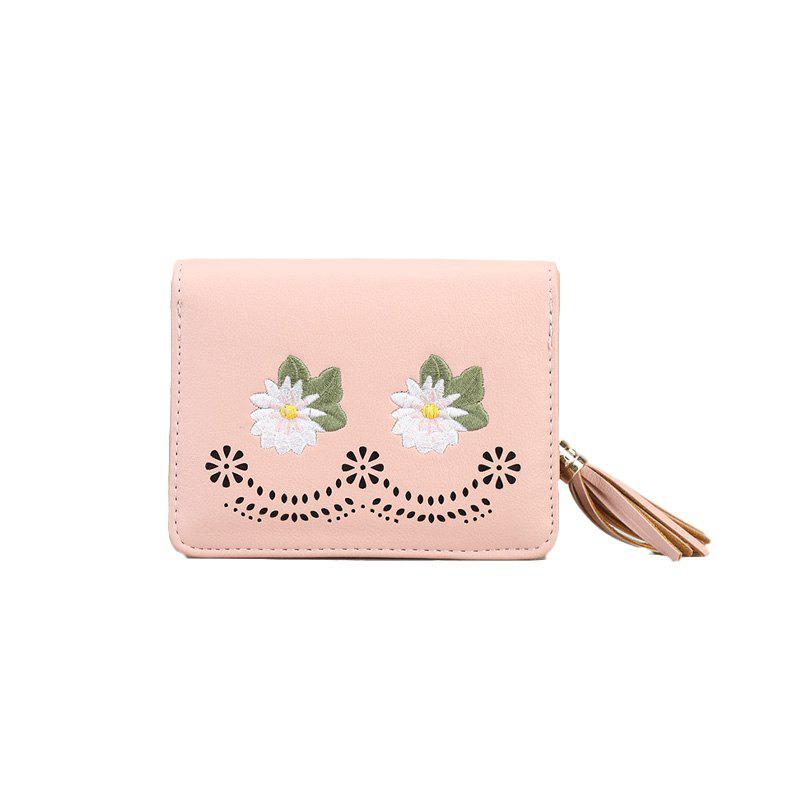 Female New Simple Zipper Short Wallet - PINK