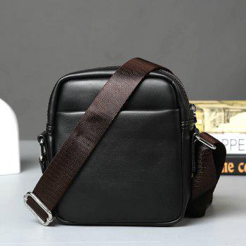 Korean Men's Mini Crossbody Bag Casual Leather Business Handbag - BLACK
