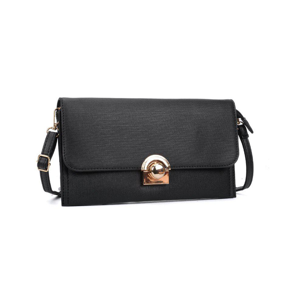 Women's Handbag Brief Style All Match Buckle Bag - BLACK