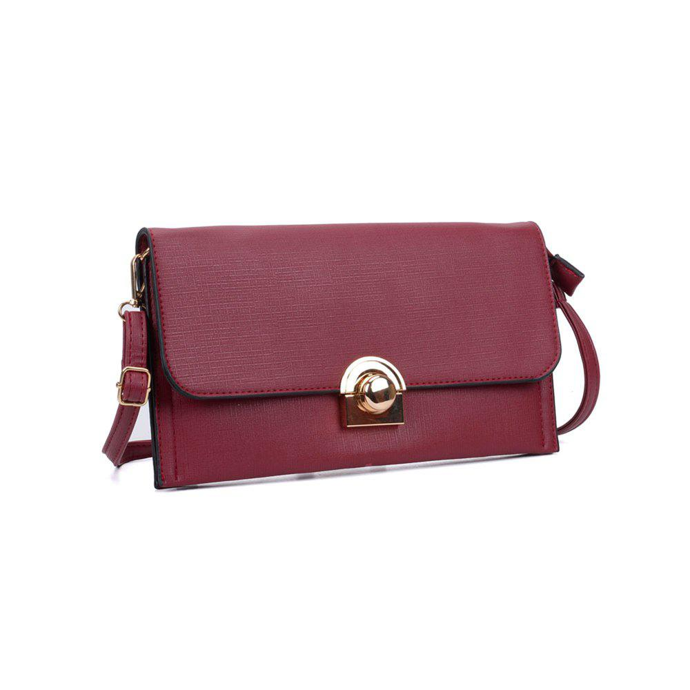 Women's Handbag Brief Style All Match Buckle Bag - RED