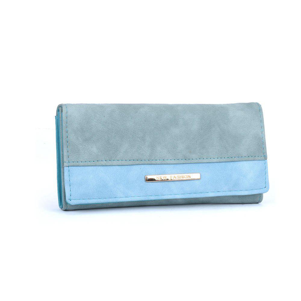 Women's Wallet Solid Color Plain Style Elegant Bag - BLUE