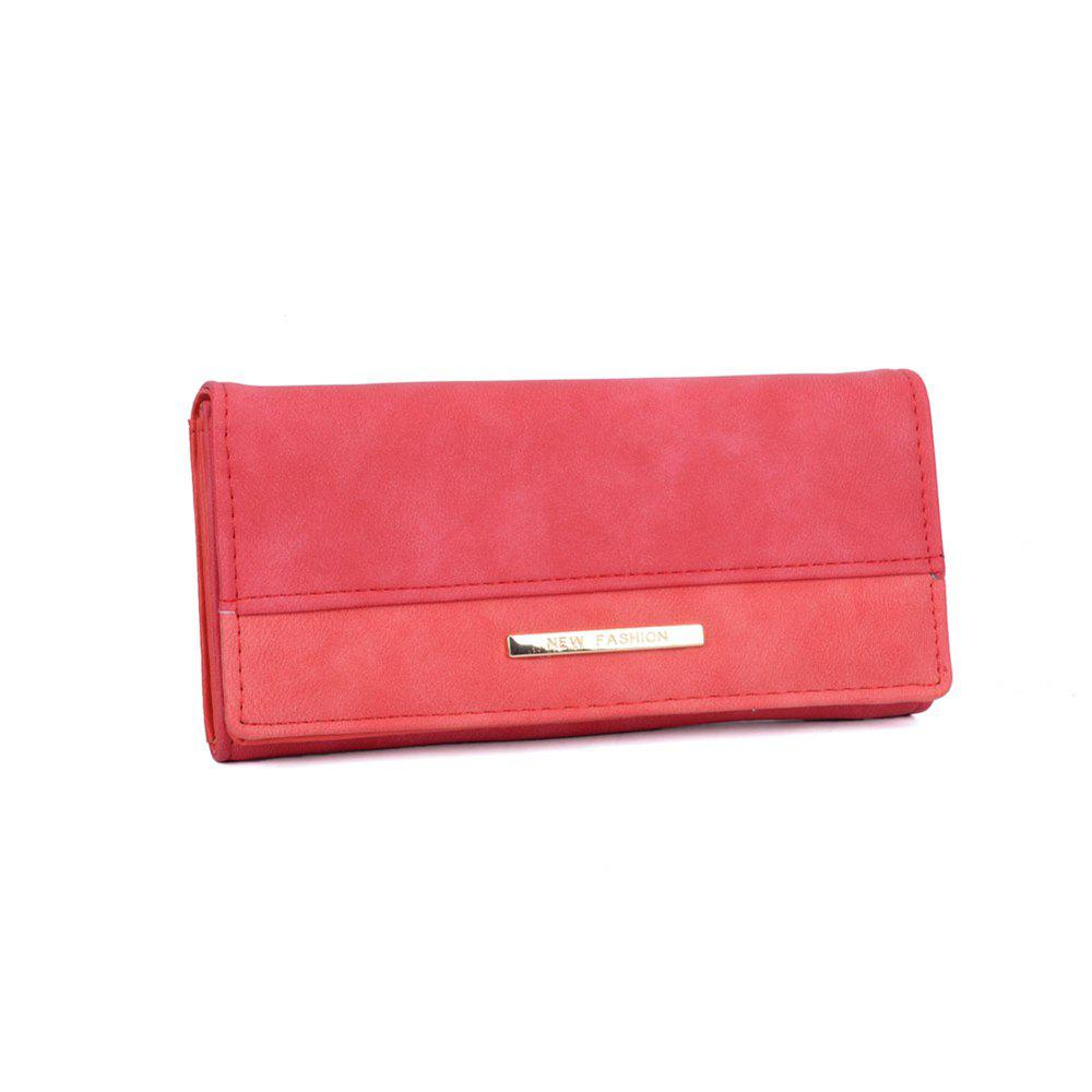 Women's Wallet Solid Color Plain Style Elegant Bag - RED
