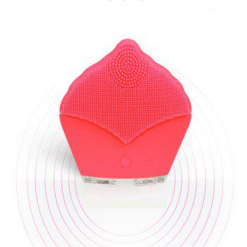 Facial Cleanser Brush Silicone Portable Ultrasonic Vibration Facial Massager - PINK