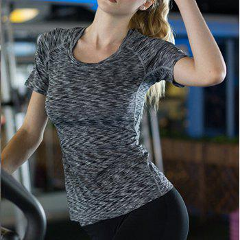 Women Sports Fitness Tight Stretch Quick-Drying Short-Sleeved Camouflage T-Shirt - BLACK M