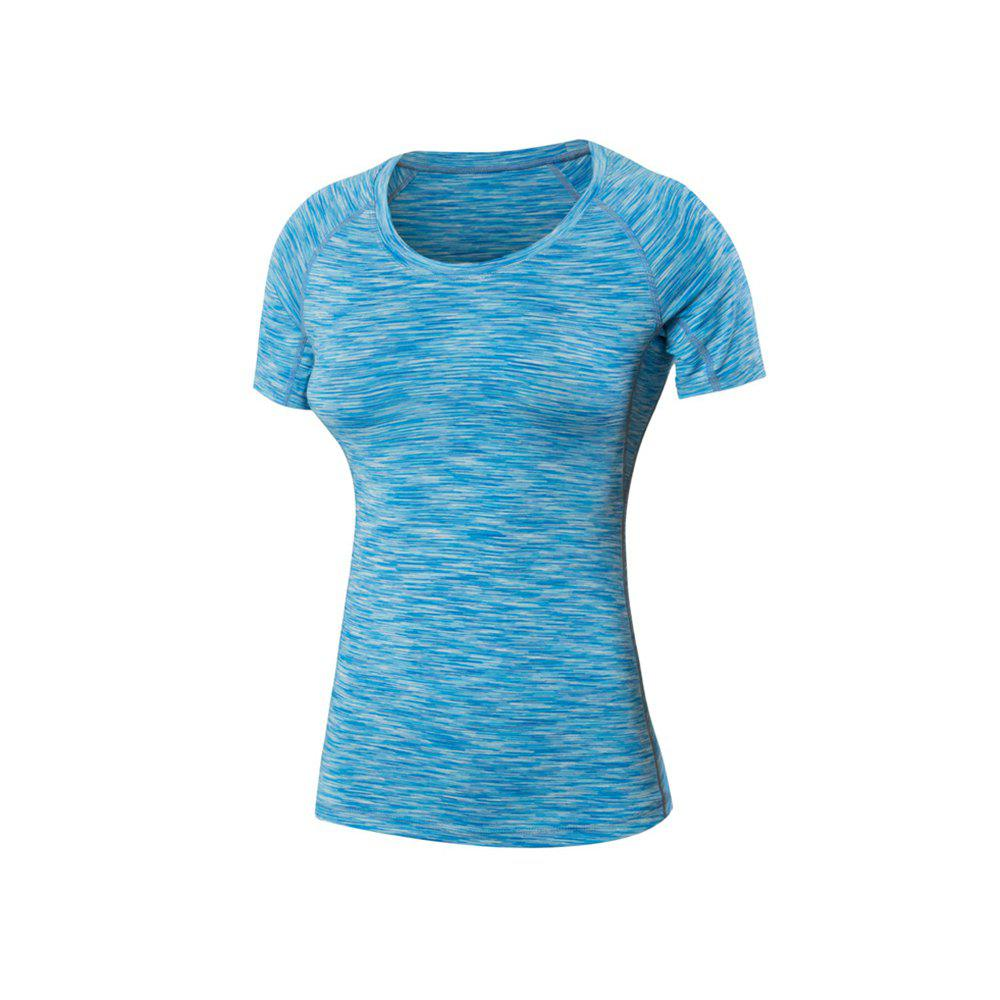 Women Sports Fitness Tight Stretch Quick-Drying Short-Sleeved Camouflage T-Shirt - BLUE S