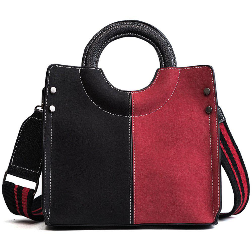 European American Fashion Female Hand-held Splicing Coloured   with Single Shoulder Straps - BLACK