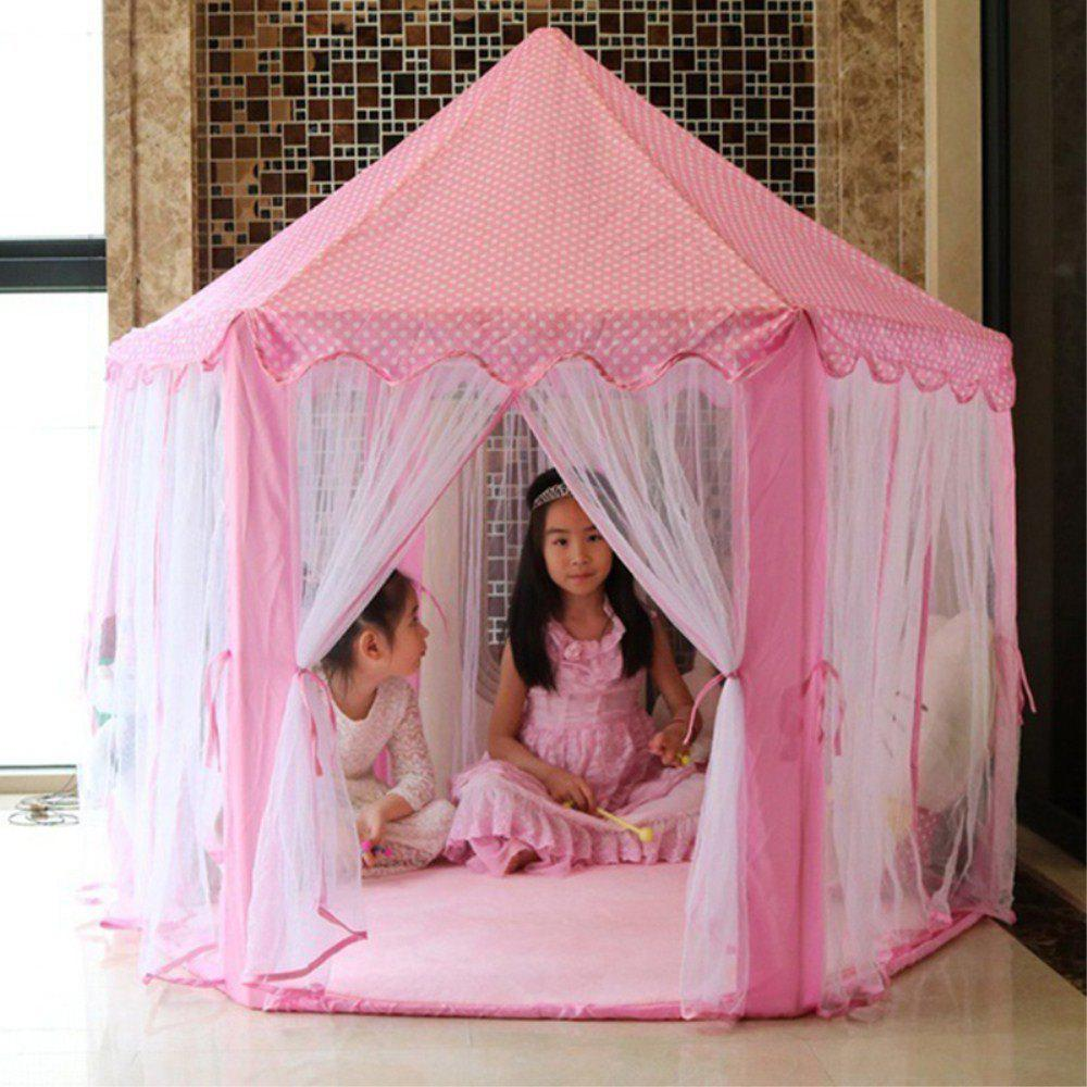 140x135cm Large Princess Castle Tulle Children House Game Selling Play Tent Yurt Creative - PINK